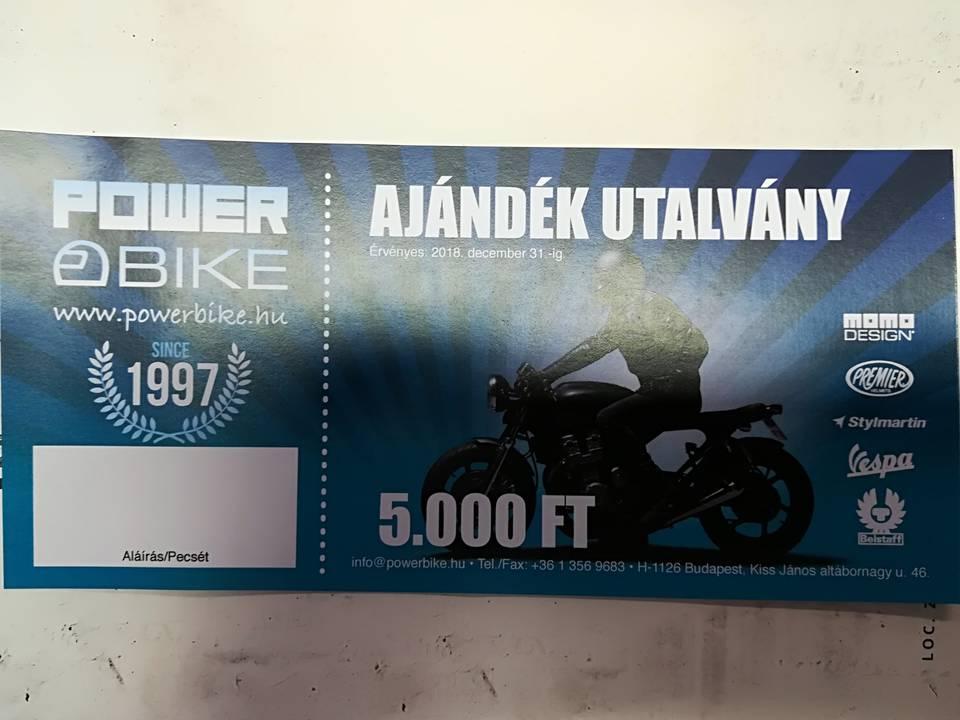 6b5551348752 Ajándékutalvány 5 ezres - PowerBike motorosbolt és szerviz webshopja